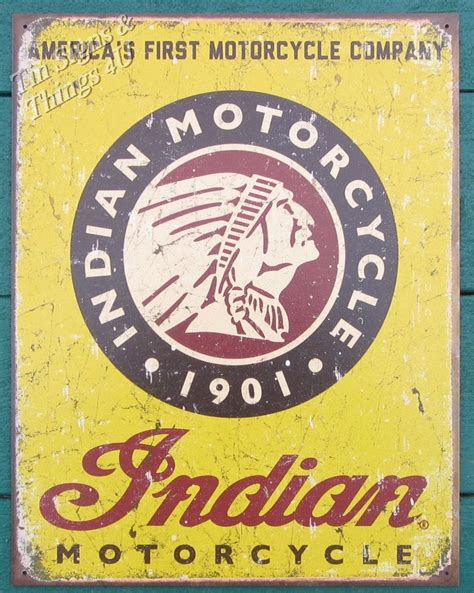 indian america s motorcycle tin sign vtg garage