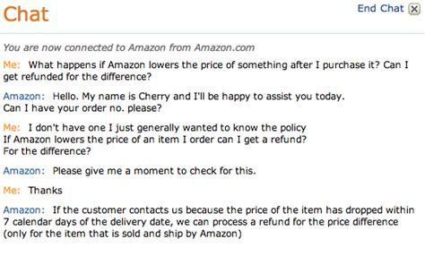 amazon help chat how to get refunded the difference if amazon discounts the