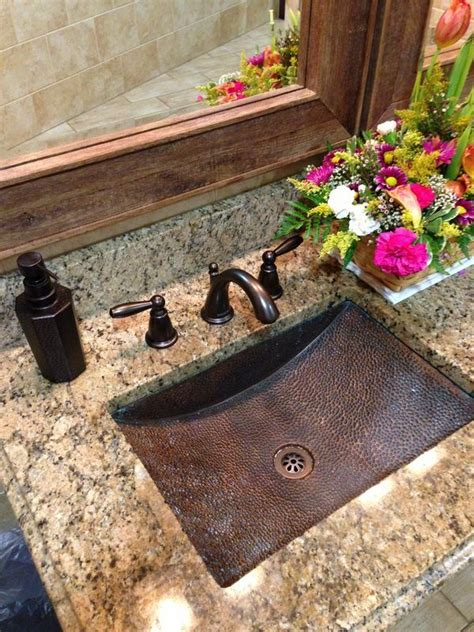 granite copper kitchen and bathroom countertop color gorgeous bathroom countertops with copper sink www remodelworks bathroom ideas