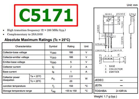 ss8050 transistor equivalent datasheet c5171 datasheet vcbo 180v npn transistor toshiba