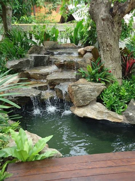 waterfall for backyard backyard waterfalls with wood deck