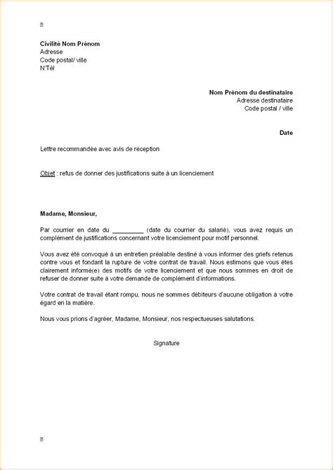 Exemple De Lettre Licenciement économique 8 Lettre De Licenciement Lettre De Demission