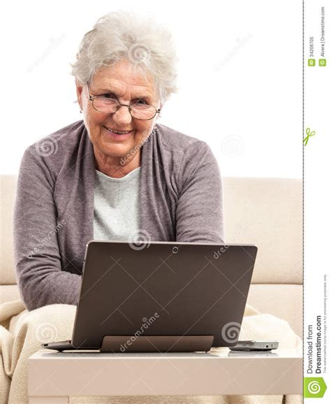 senior with notebook working at home royalty free