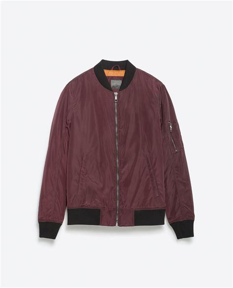 Bomber Jaket Maroon zara bomber jacket with quilted lining in purple for