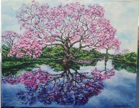 fiori di ciliegio dipinti albero di ciliegio in fiore riflette in un dipinto