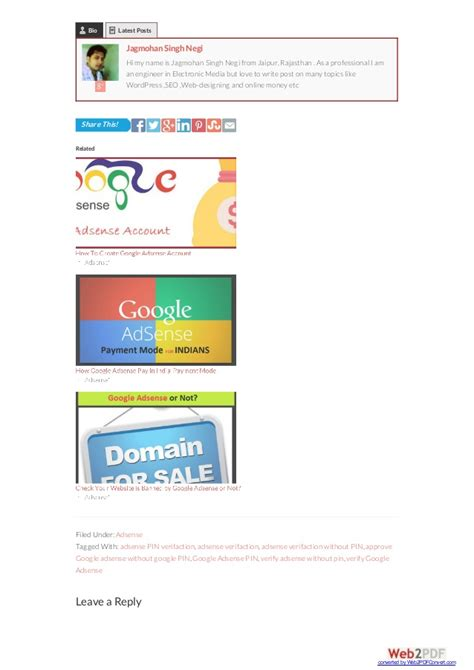 adsense verification without pin how to verify google adsense account without google pin online