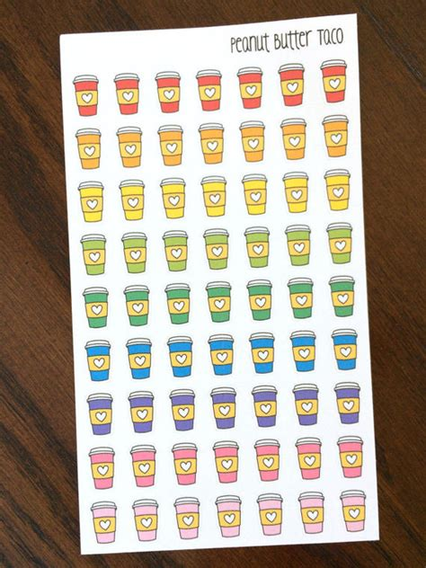 printable planner stickers rainbow coffee cup by partyink rainbow coffee stickers coffee planner stickers coffee cup