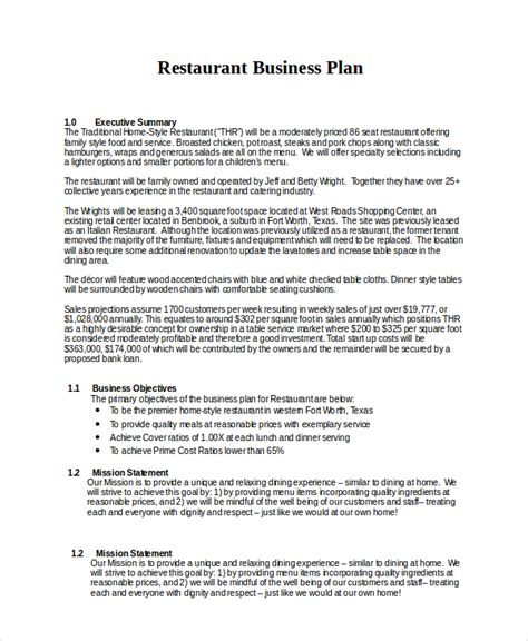 free business plan template for restaurant business plan for restaurant pdf