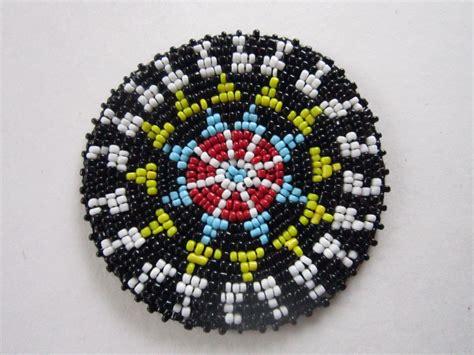3 glass beaded rosette medallion tribal regalia beadwork