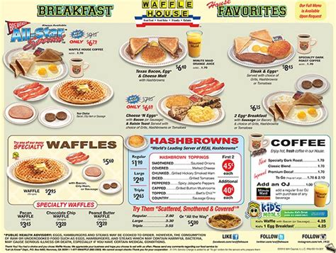 Waffle House Menu With Prices by Waffle House Menu Prices All Waffle House Prices 2018