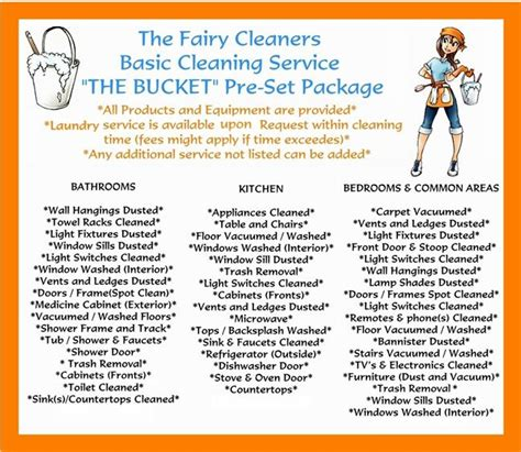 House Gift The Fairy Cleaners Pre Set Packages