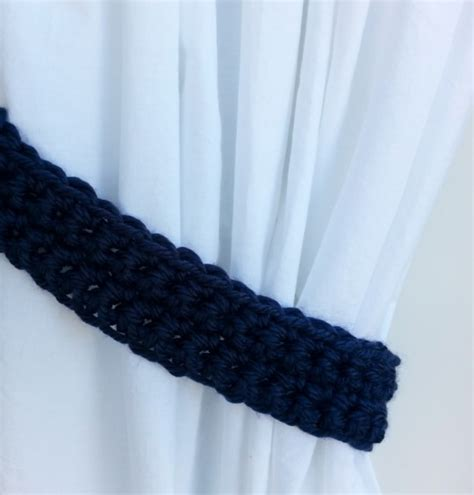 blue curtain tie backs handmade crochet knit solid navy dark blue curtain