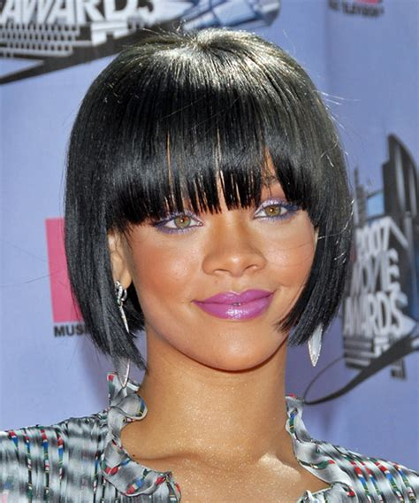 hairstyles with center cut bangs rihanna medium straight formal bob hairstyle with blunt