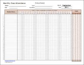 Monthly Class Attendance Template by Free Attendance Tracking Templates And Forms