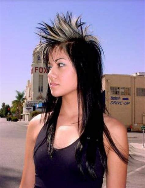 pictures of womens spikey longer hair women long punk hairstyle with very long hair and spiky