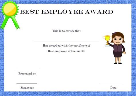 best employee award template and employee of the month certificate