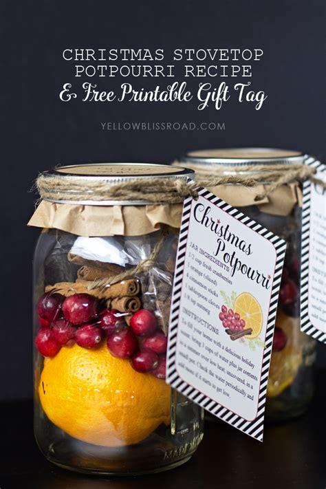 printable christmas potpourri tags christmas potpourri gift idea free printable yellow
