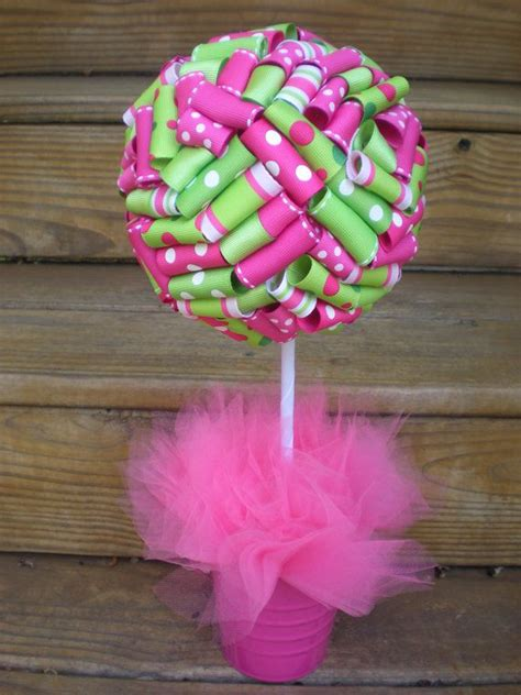 Baby Shower Decorations Pink And Green by Ribbon Topiary Pink Lime Green Perfect For Strawberry
