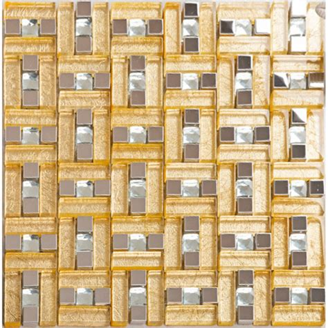 gold backsplash tile stainless steel glass blend metal tile sheets