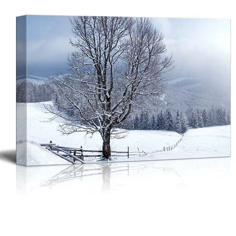 canvas prints beautiful winter landscape with snow