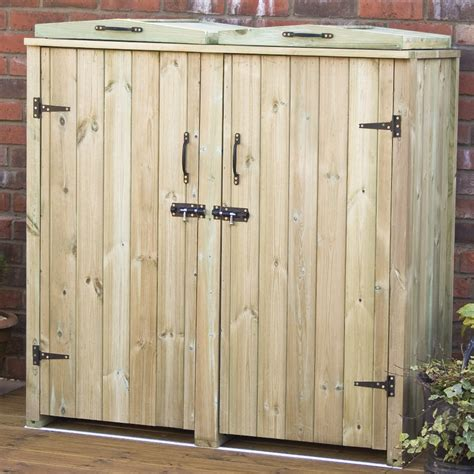 Patio Furniture Ebay Double Wheelie Bin Store Wooden Chest Double Doors Lids