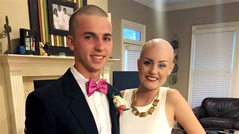 shaves head for cancer valiant teen shaves head to support homecoming date with