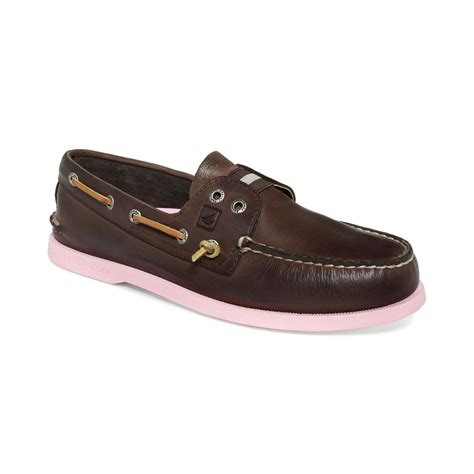 sperry top sider ao colored sole boat shoes in pink