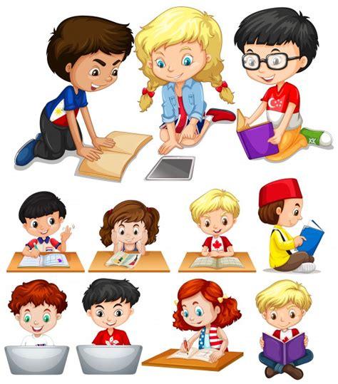 imagenes de niños jugando y estudiando ni 241 os y ni 241 as leyendo y estudiando ilustraci 243 n descargar