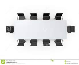 Conference table and black office chairs in meeting room top view