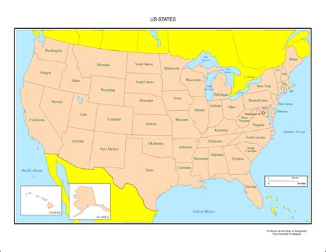 map of usa with states marked united states labeled map