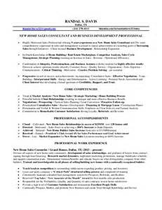 Construction Sle Resume by Randal Davis Resume New Home Sales