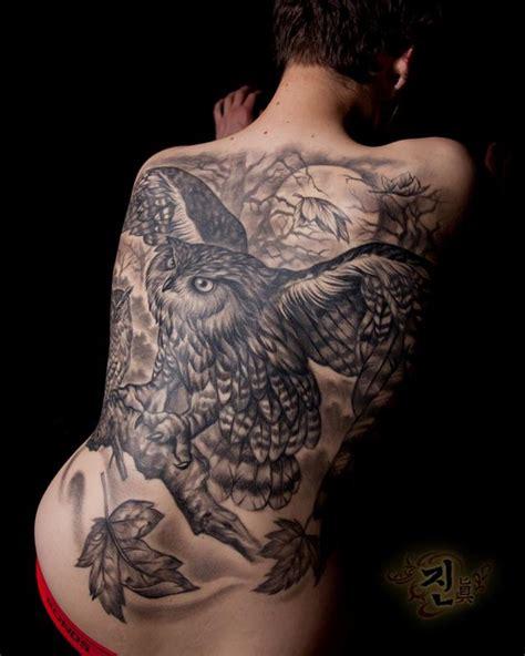 owl tattoo back piece owl back piece by jin o tattoos