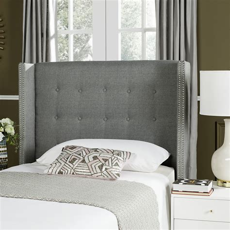 winged tufted headboard keegan grey linen tufted winged headboard silver nail