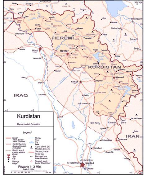 map of iraqi kurdistan kurdistan maps