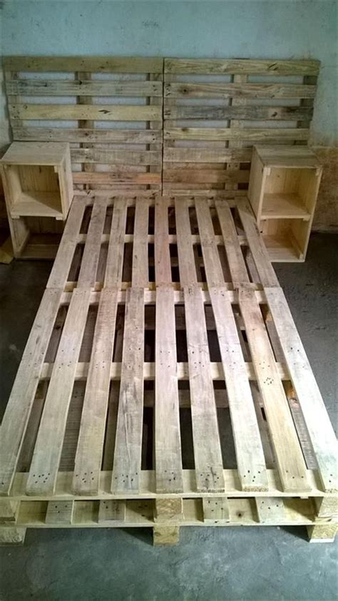 futon pallet pallet bed frame with side tables and headboard re