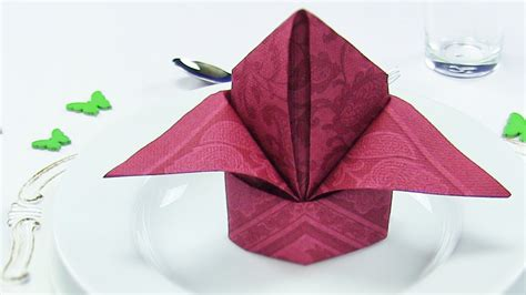 Napkin Origami - napkin folding bishop s hat or easy napkins folding