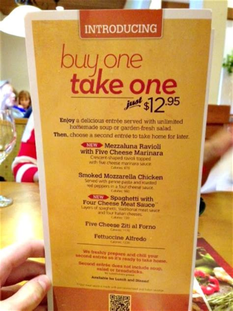 Olive Garden Day Specials Olive Garden Buy One Take One Menu Items