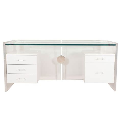 Decor Tips Exciting Lucite Desk Design With White Drawers Desk Glass Top