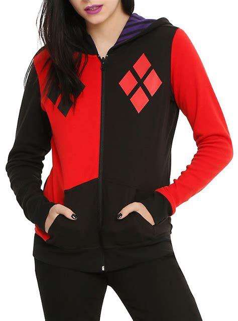 Sweater Dc Jaket Zipper Hoodie dc comics joker harley quinn reversible costume