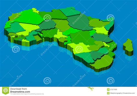 africa map 3d political map of africa 3d stock photo image 27217930