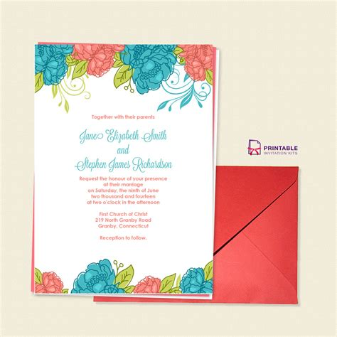 printable invitation kits com summer blooms wedding invitation wedding invitation