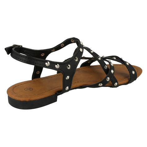 flat buckle sandals spot on flat studded x ankle buckle sandals