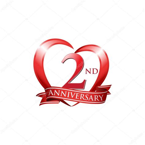 2nd anniversary logo red heart stock vector 169 ariefpro