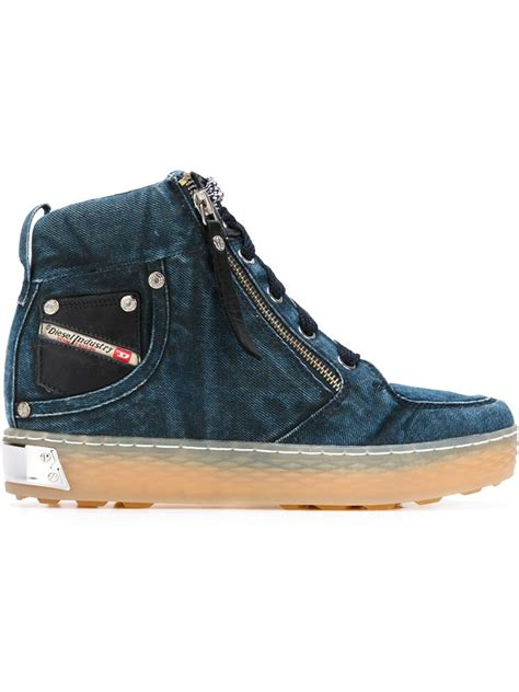 Sneakers Denim lyst diesel denim hi top sneakers in blue