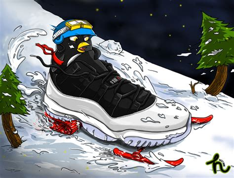 wallpaper jordan cartoon todayshype air jordan xi low snowmobile illustration by