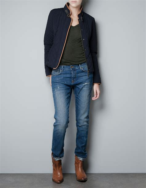 Zara Quilted Vest by Zara Quilted Jacket In Blue Navy Lyst