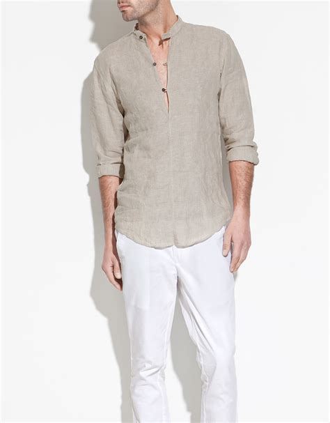 Zaraman Cotton Shirt zara mao collar linen shirt in beige for lyst