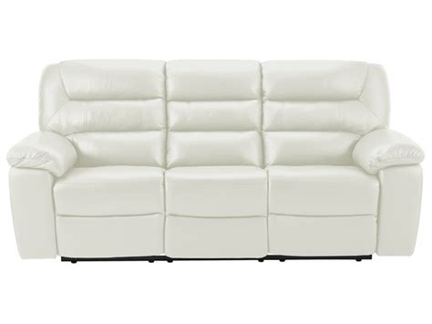 off white leather recliner devon large manual sofa with 2 recliners off white