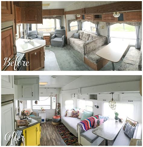 renovated rv before and after fifth wheel renovation 188sqft