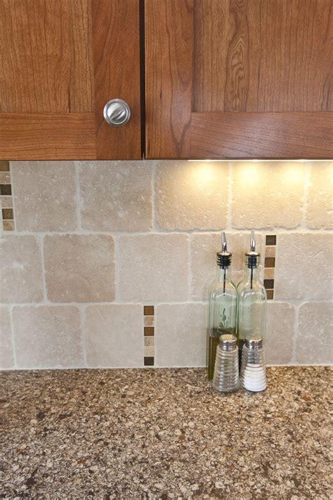 backsplash with accent tiles travertine backsplash scattered glass accent tile